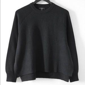 J. Crew Black Merino Wool Side-slit Sweater